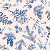 Christmas seamless botanical pattern.