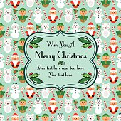 Christmas seamless card with characters, blue