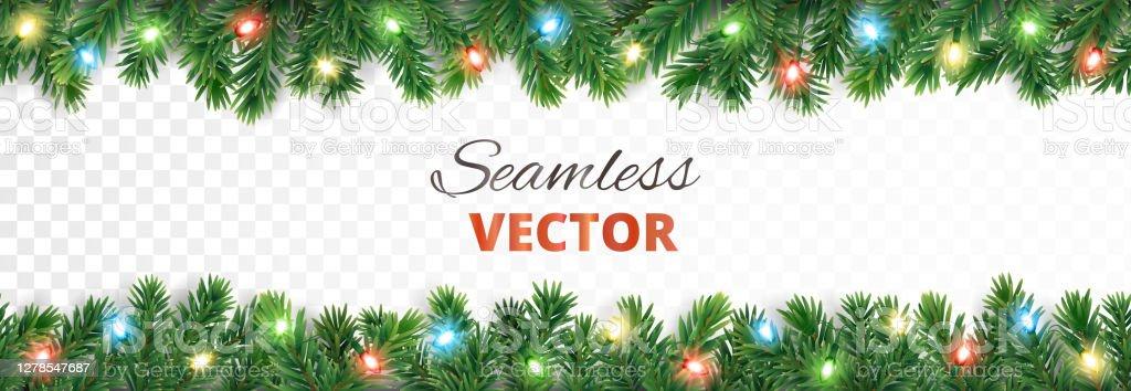 Świąteczna bezszwowa dekoracja. Obramowanie drzewa wektora ze światłami. - Grafika wektorowa royalty-free (Banner internetowy)