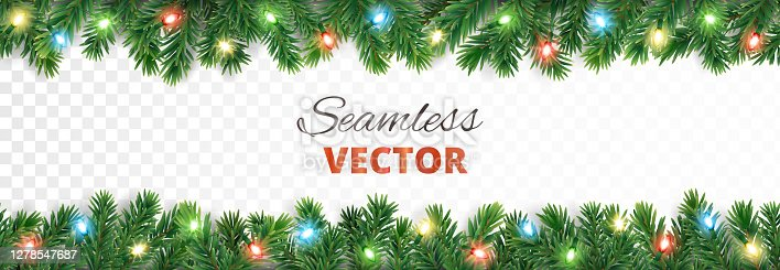 istock Christmas seamless decoration. Vector tree border with lights. 1278547687