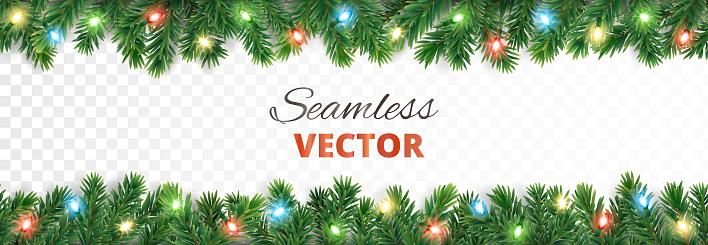 Christmas seamless decoration. Vector tree border with lights.