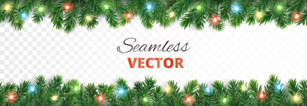 Christmas seamless decoration. Vector tree border with lights. Seamless holiday decoration. Christmas tree border with lights garland. Festive frame isolated on white. Celebration vector background. For winter season banners, New Year headers, party posters. noel stock illustrations