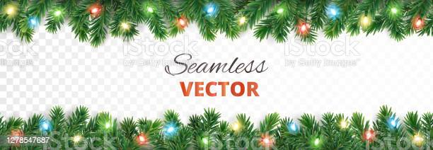 Świąteczna Bezszwowa Dekoracja Obramowanie Drzewa Wektora Ze Światłami - Stockowe grafiki wektorowe i więcej obrazów Banner internetowy