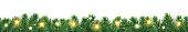 istock Christmas seamless decoration. Vector tree border with lights. 1278547794
