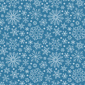 Hand drawn doodle seamless pattern. White snowflakes on a dark background. For fabric, textile, wrapping paper, card, invitation, wallpaper, web design.