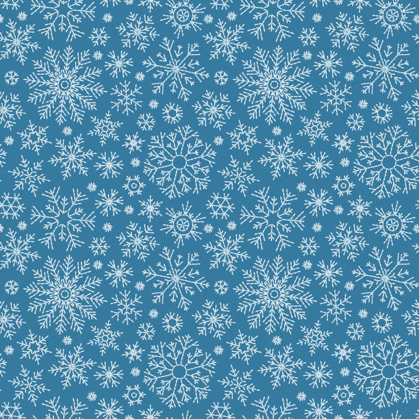 christmas seamless doodle pattern - blue symbols stock illustrations