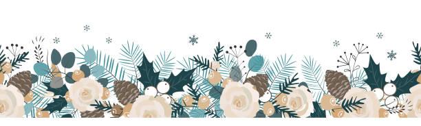 nahtlose weihnachtsgirlande. vektor hand gezeichnete abbildung. - blumengirlanden stock-grafiken, -clipart, -cartoons und -symbole