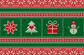 Christmas Seamless Knit Pattern with Holiday Symbols: Snowman, Snowflake, Present Box and Christmas Tree. Scheme for Wool Knitted Sweater Pattern Design or Cross Stitch Embroidery.