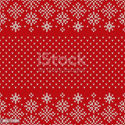 Christmas Seamless Knitted Pattern With Snowflakes Christmas And New