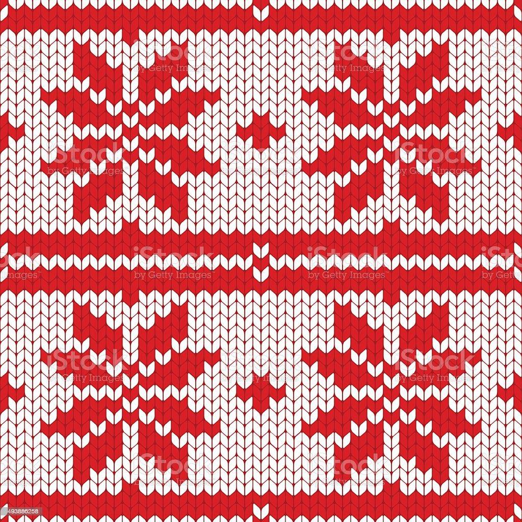 Christmas Seamless Knitting Pattern vector art illustration
