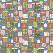 Christmas seamless pattern background with gift boxes