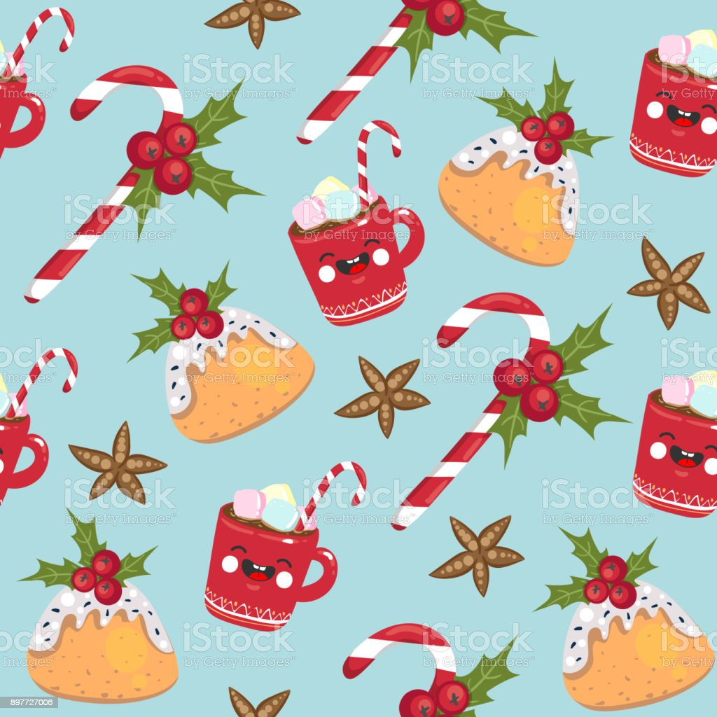Christmas Seamless Pattern Candy Mug Pudding On Blue Background ...