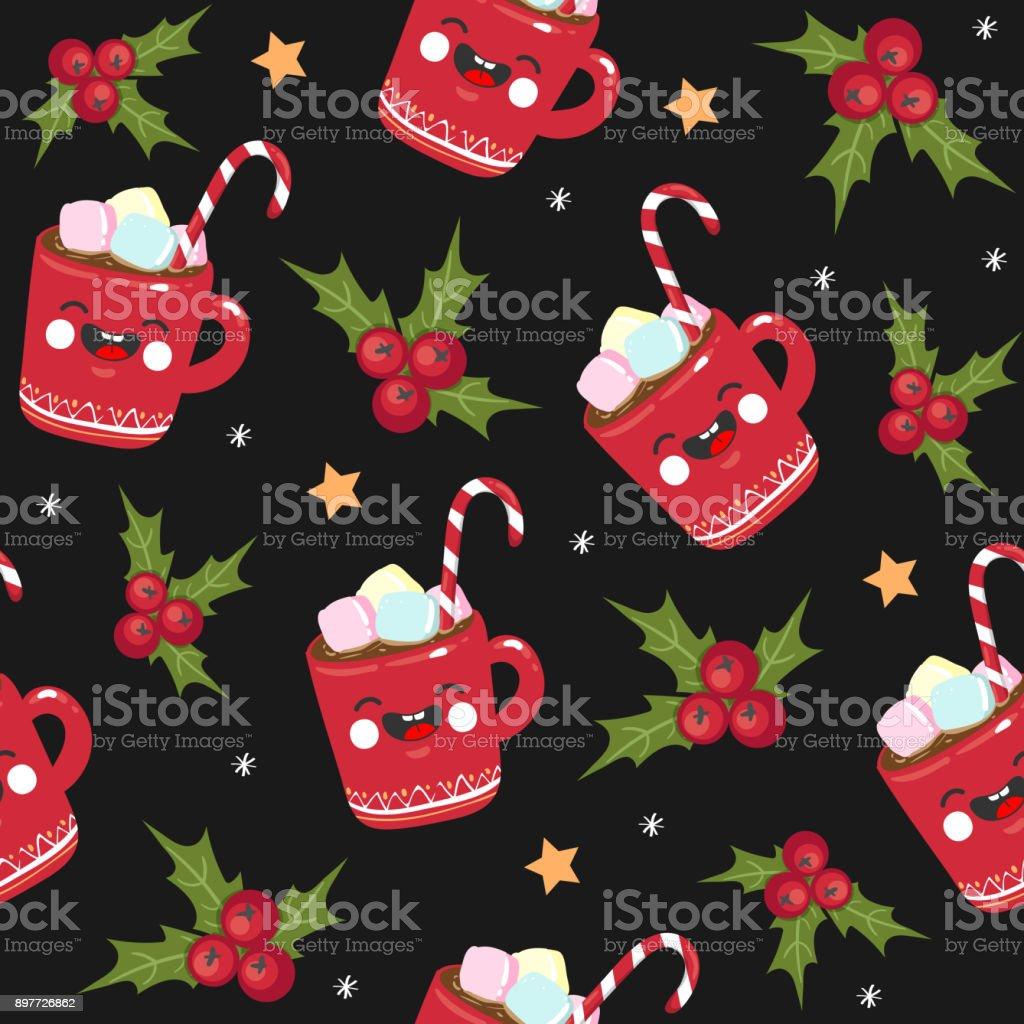 Ilustração De Doces De Natal Sem Costura Padrão Caneca Estrela Em