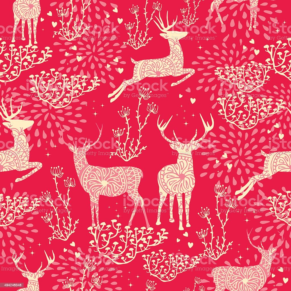 Christmas seamless pattern deer nature elements vector art illustration