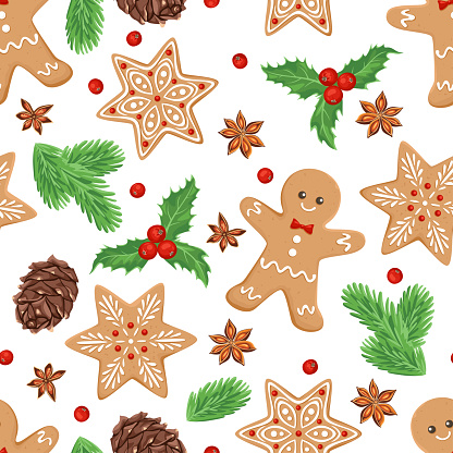 Christmas seamless pattern. Gingerbread men, green fir branches, pine cones, snowflake cookies, holly berries and anise stars isolated on white background. Festive cartoon flat vector illustration.