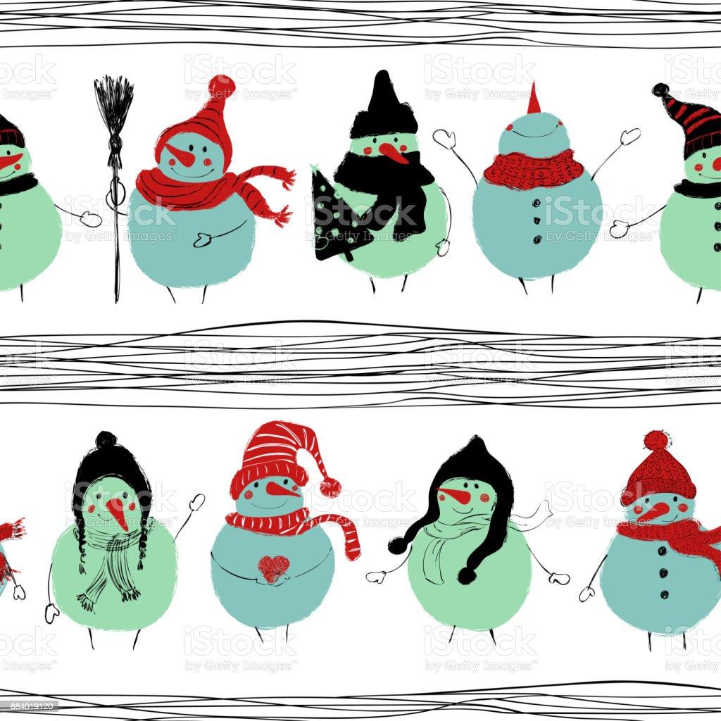 Nahtlose Muster Weihnachten Schneemänner Stock Vektor Art und mehr ...