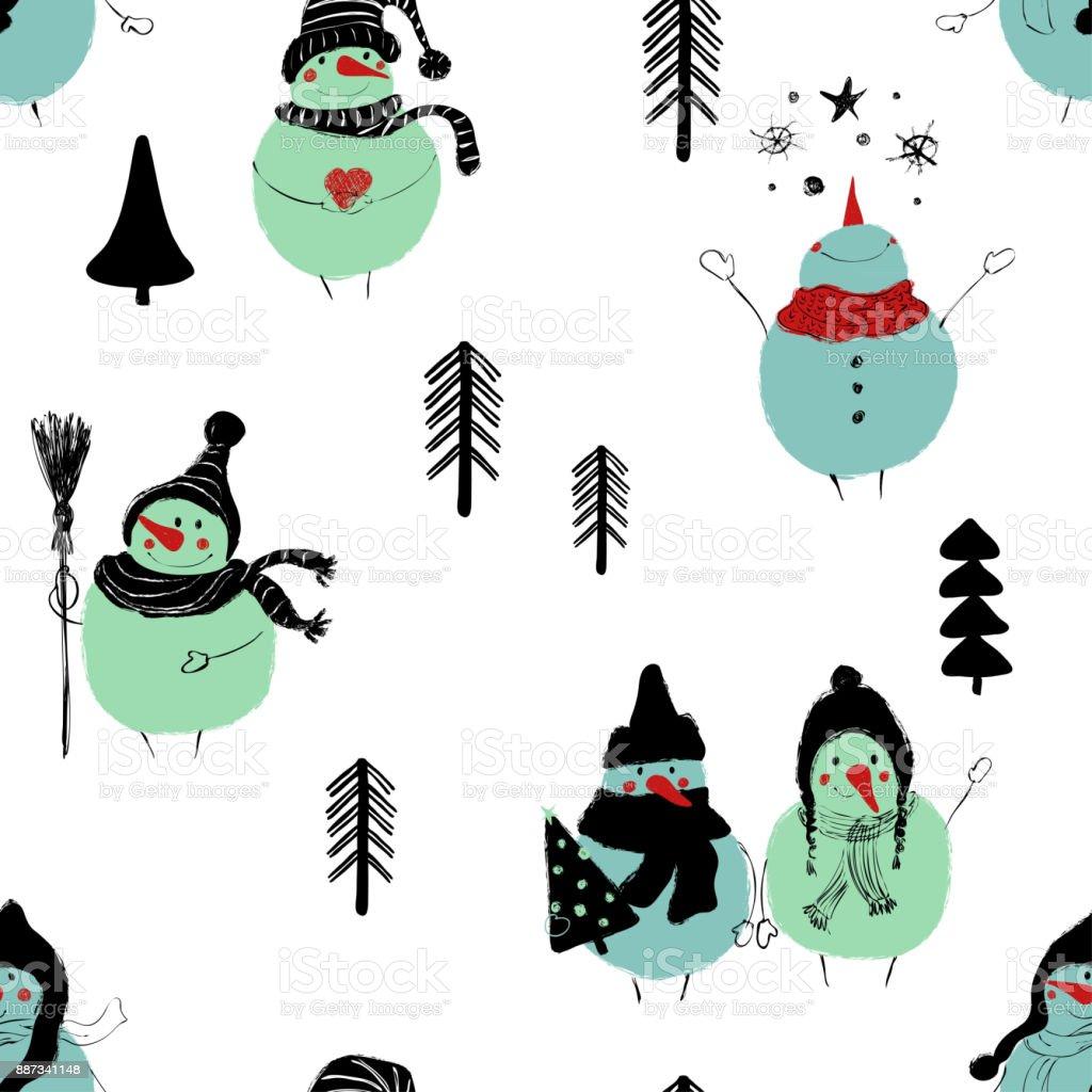 Nahtlose Muster Weihnachten Schneemänner Vektor Illustration ...