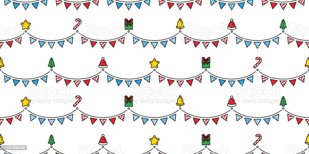 Christmas Seamless Pattern Party Flag Santa Claus Gift Box Candy Cane Bell Star Scarf Isolated Cartoon Repeat Background Tile Wallpaper Illustration Gift Wrap Paper Design Stock Illustration Download Image Now Istock