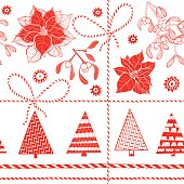 Seamless background with Christmas elements.