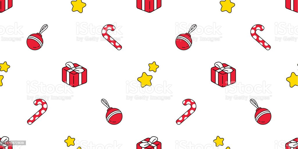 christmas seamless pattern santa claus gift box candy cane scarf vector id1176872809