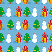 Christmas seamless pattern. Symbols of  winter holiday: Christma