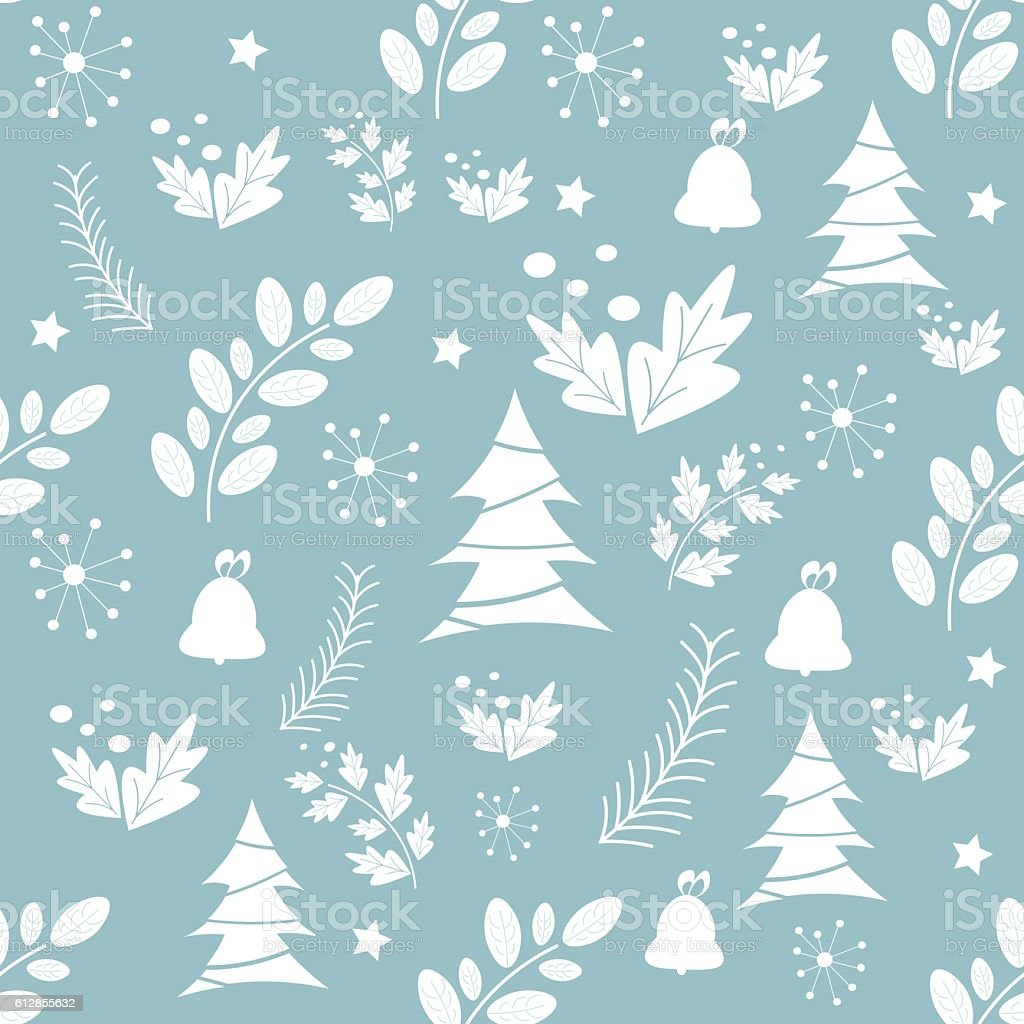 christmas seamless pattern tree snow bell vector template