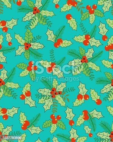 istock Christmas seamless pattern . 1337783896