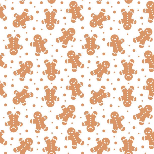 ilustraciones, imágenes clip art, dibujos animados e iconos de stock de christmas seamless pattern - gingerbread man