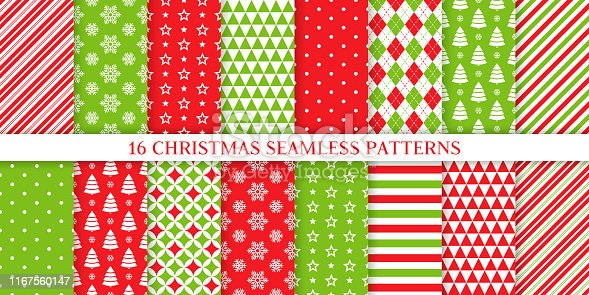 Christmas seamless pattern. Xmas, New year background. Vector. Endless texture with polka dot, candy cane stripe, snow, tree, star. Holiday print for wrapping paper web textile. Red green illustration