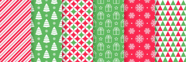 Christmas seamless pattern.  Vector illustration. Festive wrapping paper. Christmas seamless pattern. Xmas New year background. Vector. Festive texture with candy cane stripes, tree, snowflake, star, triangle. Print for wrapping paper, web, textile. Red green illustration wrapping stock illustrations