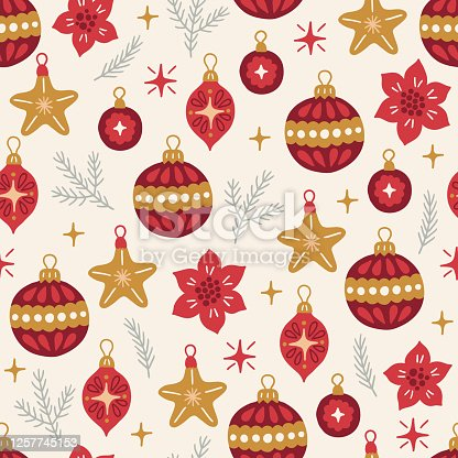 Christmas seamless pattern with balls, stars, fir branches, baubles on beige background. Perfect for winter holidays, New Year greetings, gift paper, wallpaper