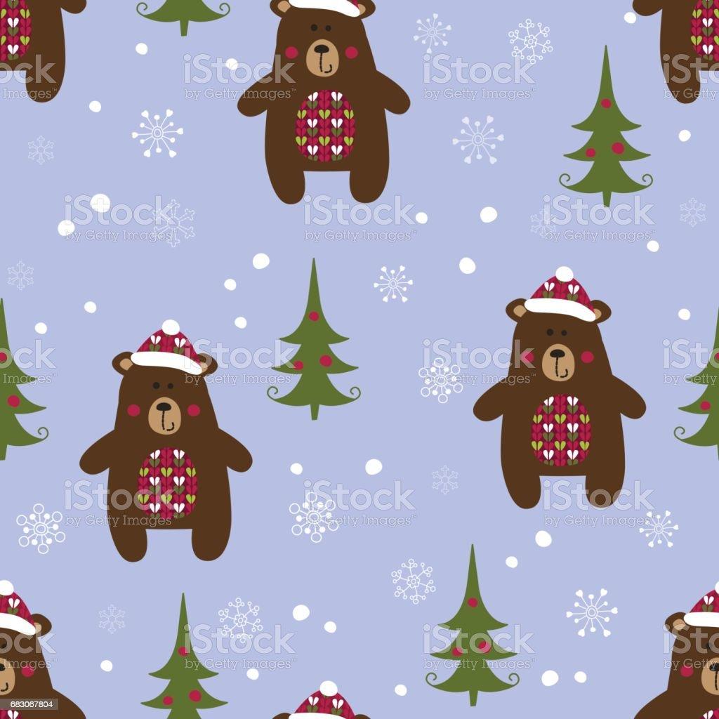 Christmas seamless pattern with  bears christmas seamless pattern with bears - arte vetorial de stock e mais imagens de abeto royalty-free