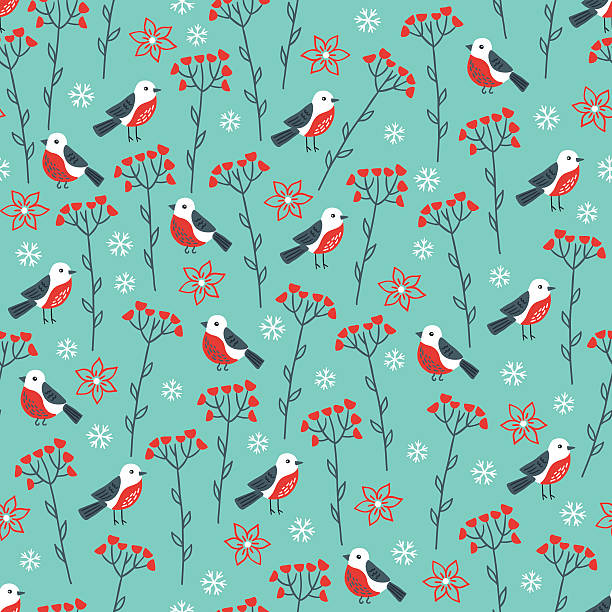 christmas seamless pattern with birds, flowers, berries and snow - dompfaff stock-grafiken, -clipart, -cartoons und -symbole