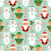 Christmas seamless pattern with characters, blue