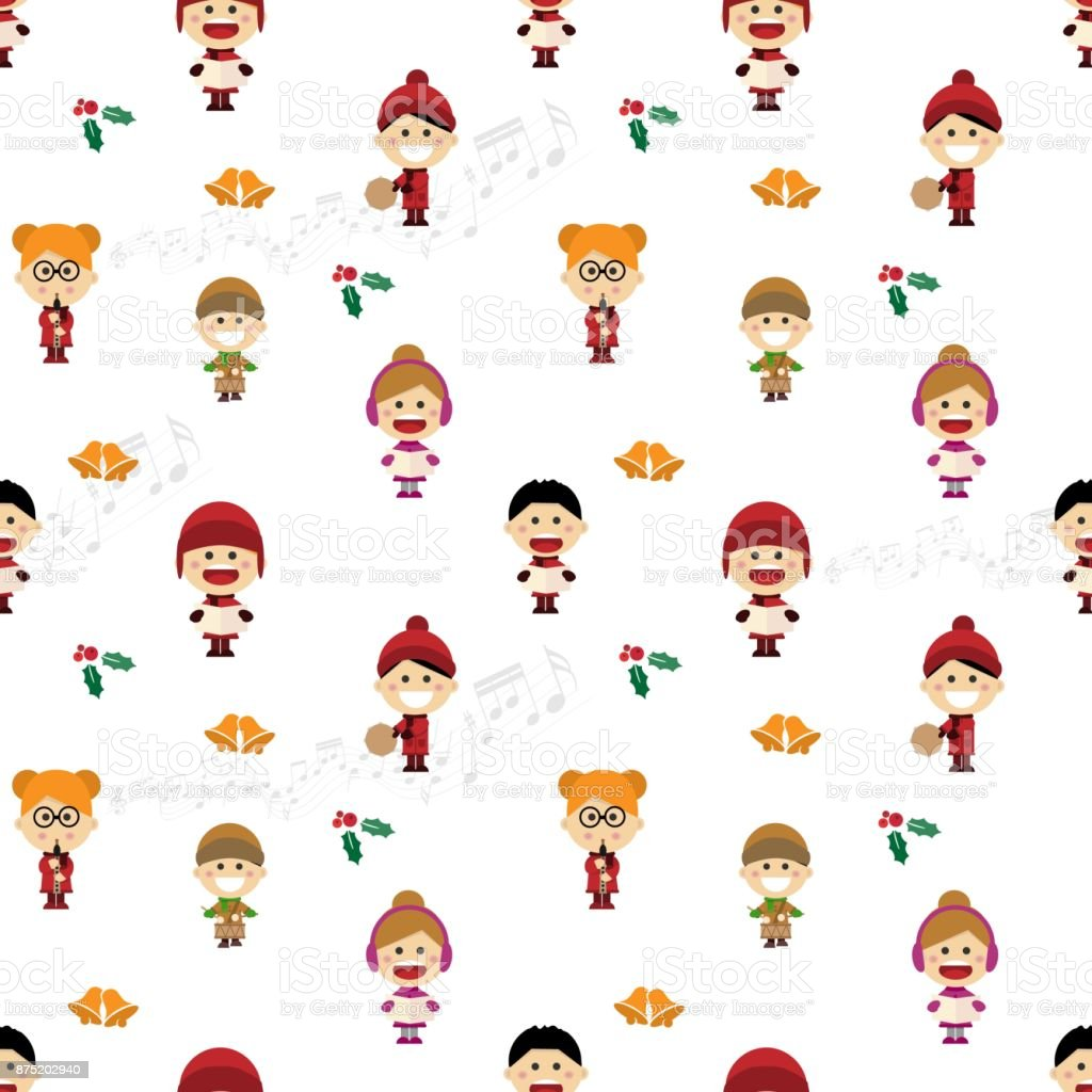 Christmas seamless pattern with children singing carols vector art illustration