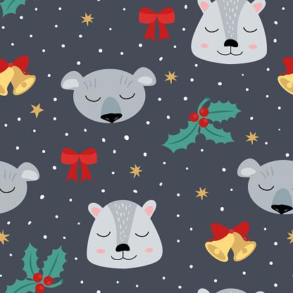 Christmas seamless pattern with chimpunk, coala, bows, mistletoe, stars, dots and bells.