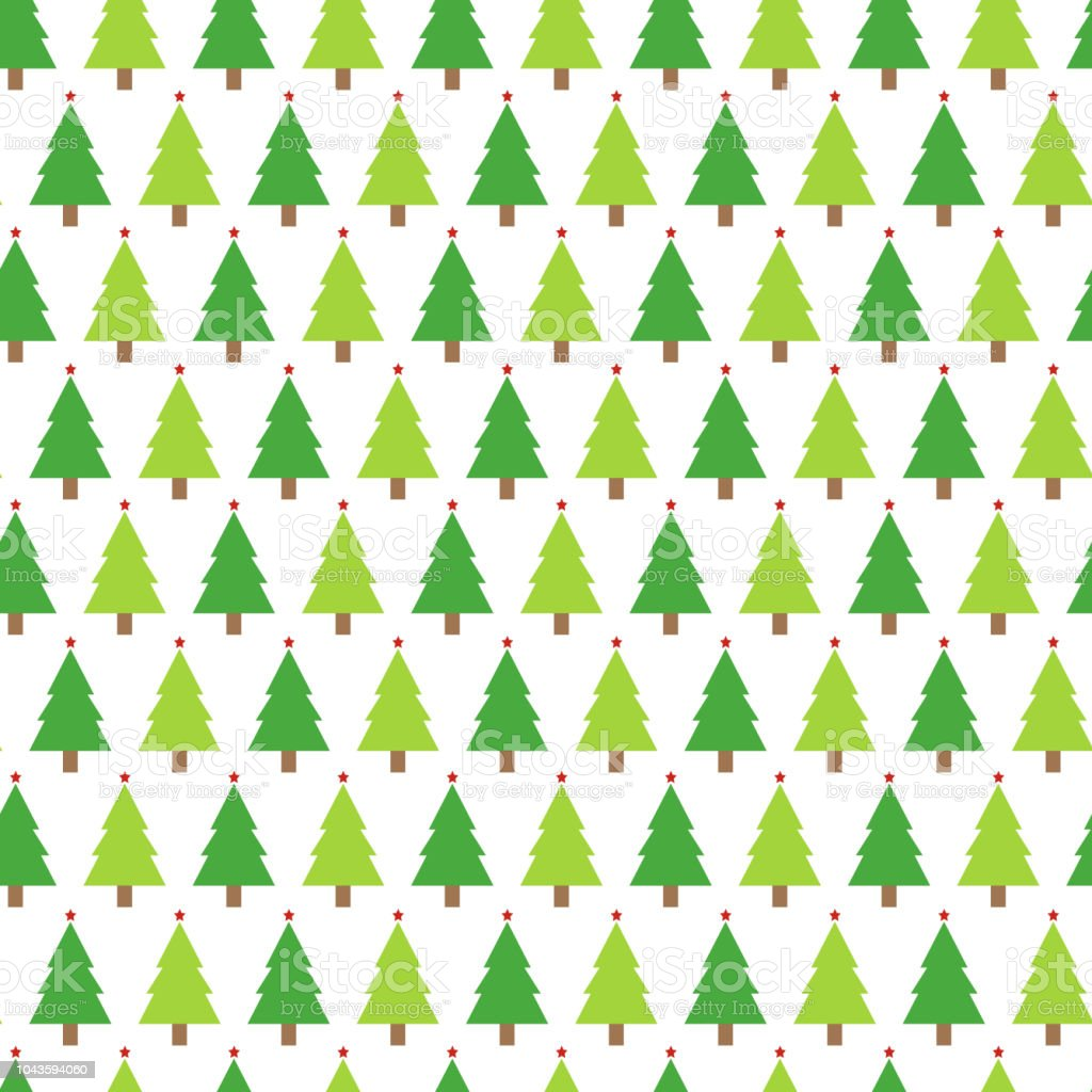 Christmas Seamless Pattern With Christmas Trees On White Background ...