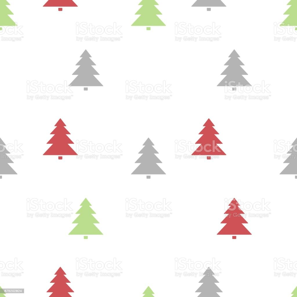 Christmas seamless pattern with colored trees on a white background vector art illustration