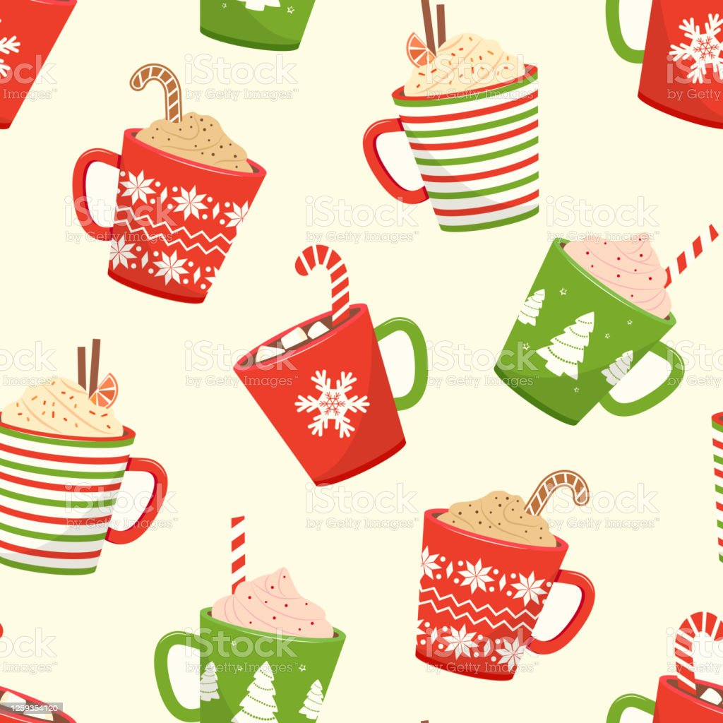 Christmas Seamless Pattern With Cups Hot Cocoa Cartoon Mugs With Holiday Drinks Vector Stock Illustration Download Image Now Istock