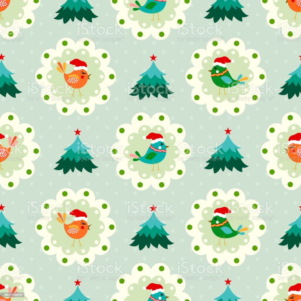 Christmas Seamless Pattern With Cute Birds Tree And Dot Stock Vector