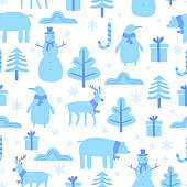 istock Christmas seamless pattern with cute funny animals. Penguin, bear, reindeer and snowman in winter. Childish background for fabric, wrapping paper, textile, wallpaper and apparel. Vector Illustration 1286284759