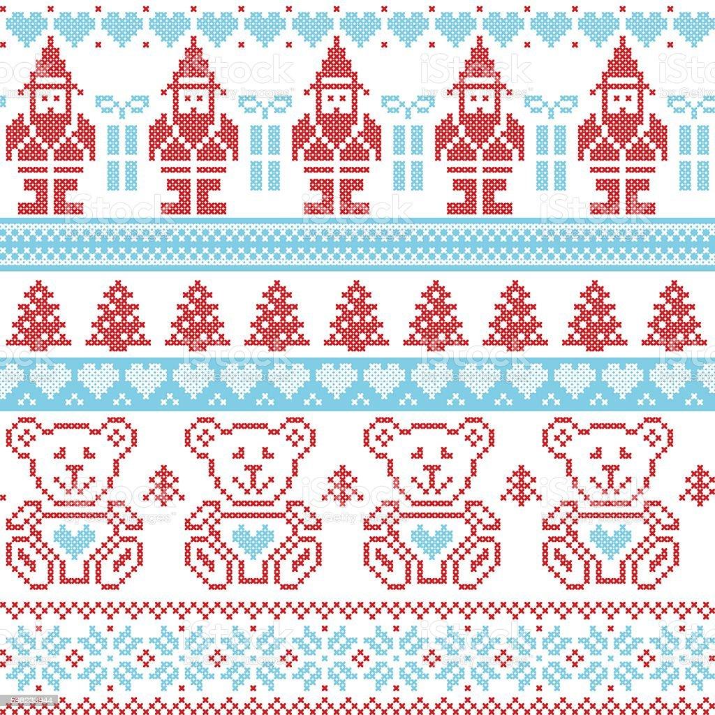 Christmas seamless pattern with elf, stars, teddy bears, snow,trees ilustração de christmas seamless pattern with elf stars teddy bears snowtrees e mais banco de imagens de arte e artesanato - assunto royalty-free