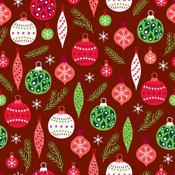 stockillustraties, clipart, cartoons en iconen met kerst naadloze patroon met spar takken, ballen, kerstballen en sneeuwvlokken - kerstbal