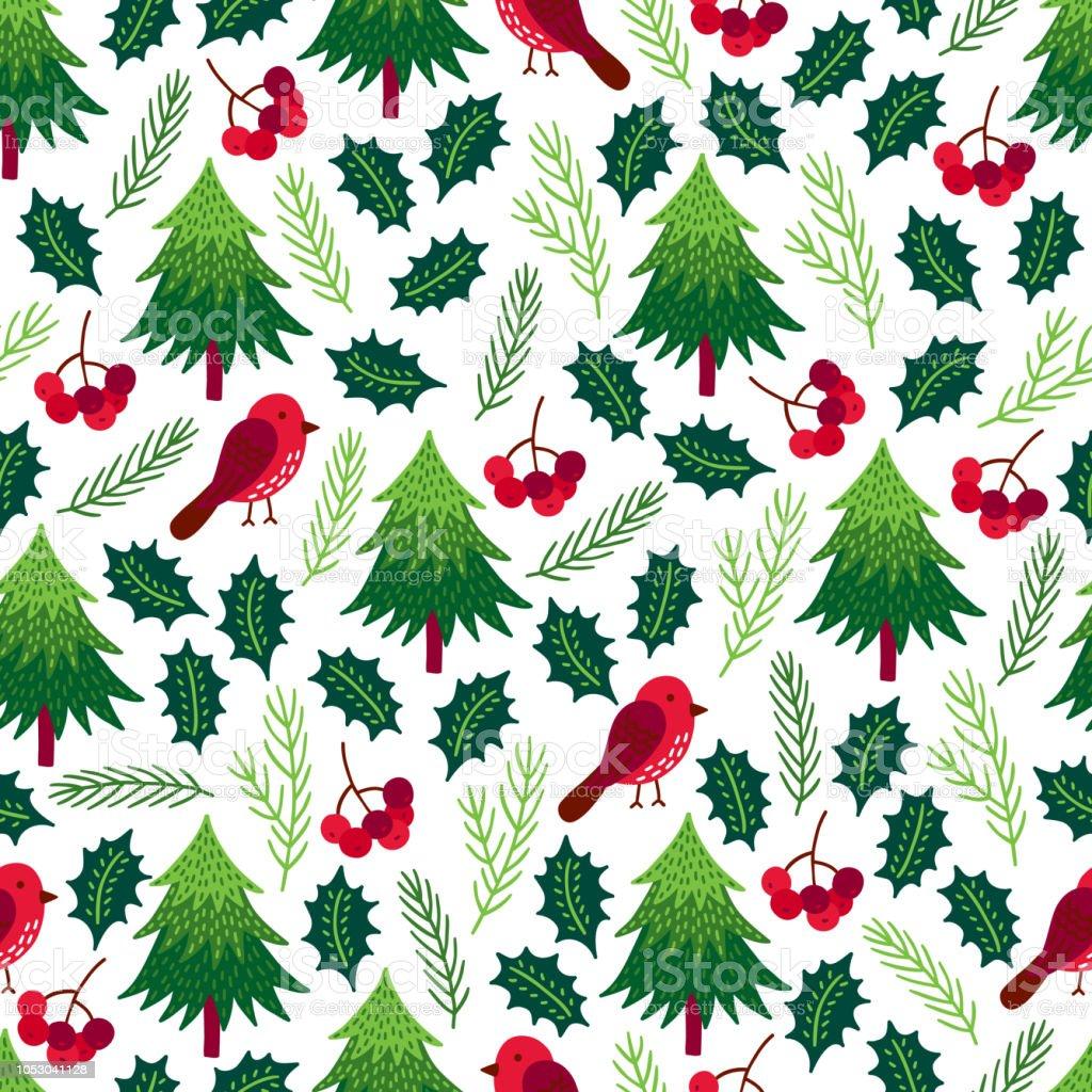 Tannenbaum Muster.Nahtlose Muster Weihnachten Mit Tannenbaum Gimpel Vogelbeere Holly