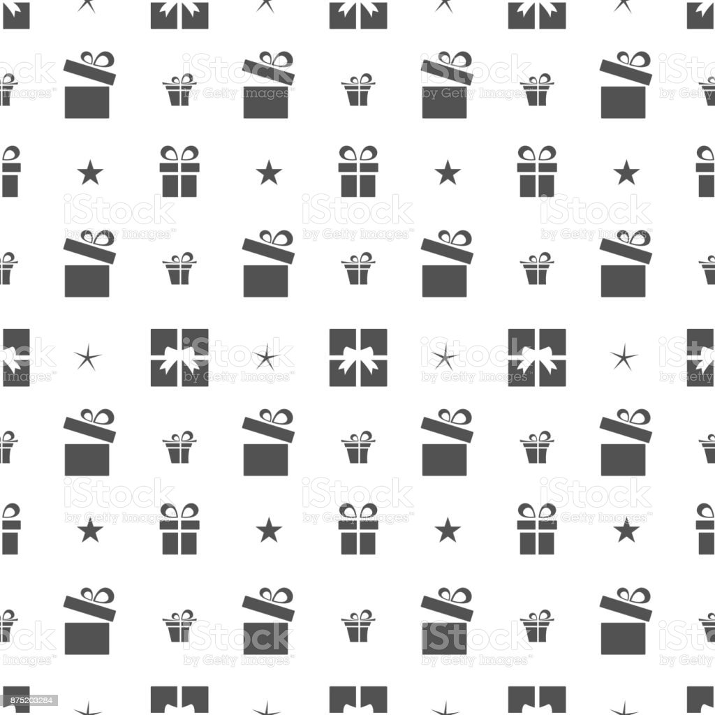 Christmas seamless pattern with gifts and stars on a white background vector art illustration