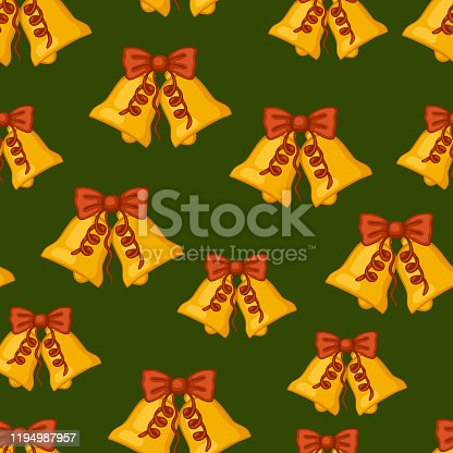 istock Christmas seamless pattern with golden bells. 1194987957