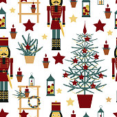 istock Christmas seamless pattern with Nutcracker and Christmas tree. 1224305811