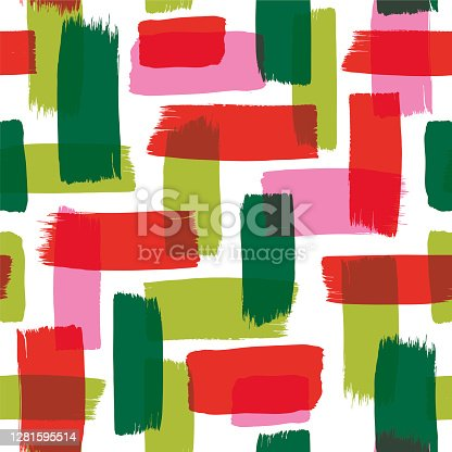 istock Christmas Seamless Pattern with Painted Brush Strokes. 1281595514