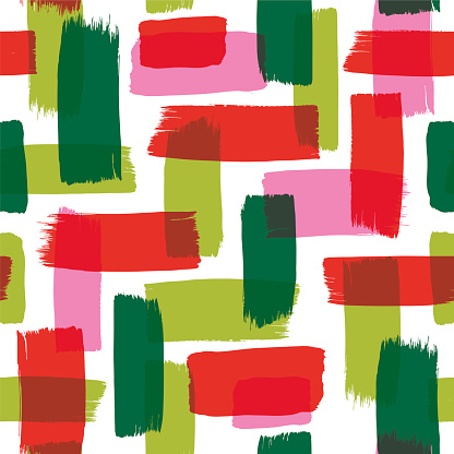 Christmas Seamless Pattern with Painted Brush Strokes.