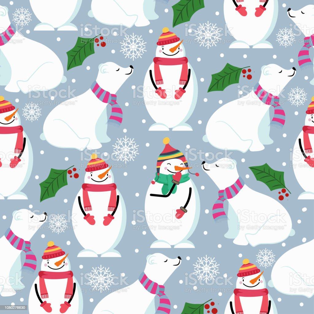 Weihnachten Musterdesign Mit Eisbären Schneemann Und Mistel